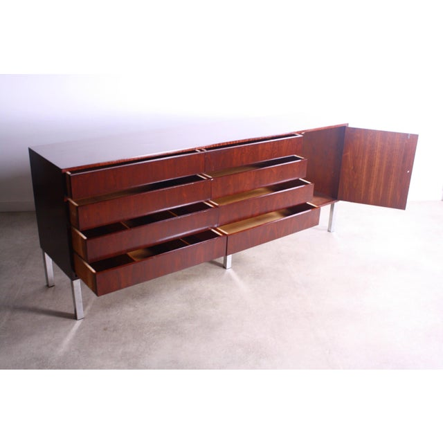 1950s Mid Century Modern Rosewood Credenza For Sale - Image 4 of 5