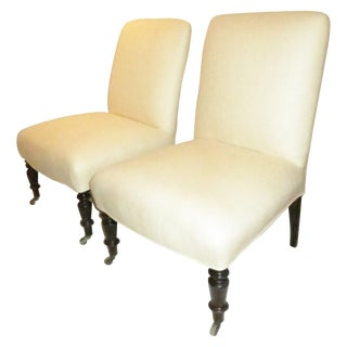Pair of Napoleon III Slipper Chairs For Sale