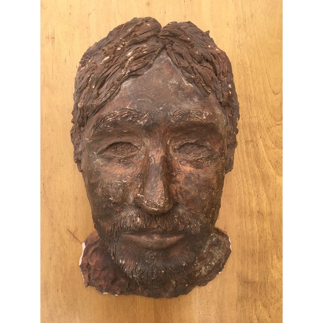 Clay 1980's Clay Sculpture of a Man's Face For Sale - Image 7 of 7