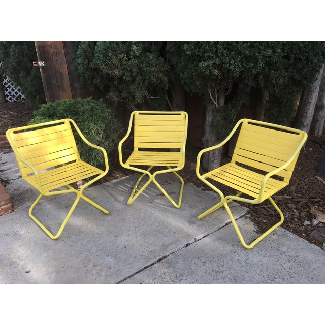 3e3ed09e38afe Vintage yellow Brown Jordan Kailua patio dining chairs. 2 inch wide vinyl  straps are
