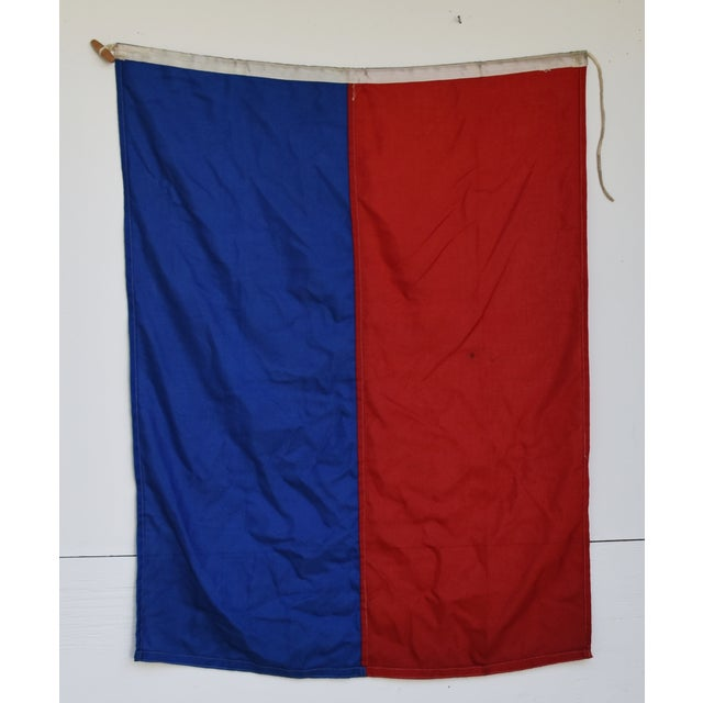 """Mid 20th Century Vintage Maritime Nautical Naval Signal """"E"""" Flag - 36"""" X 28"""" For Sale - Image 5 of 6"""