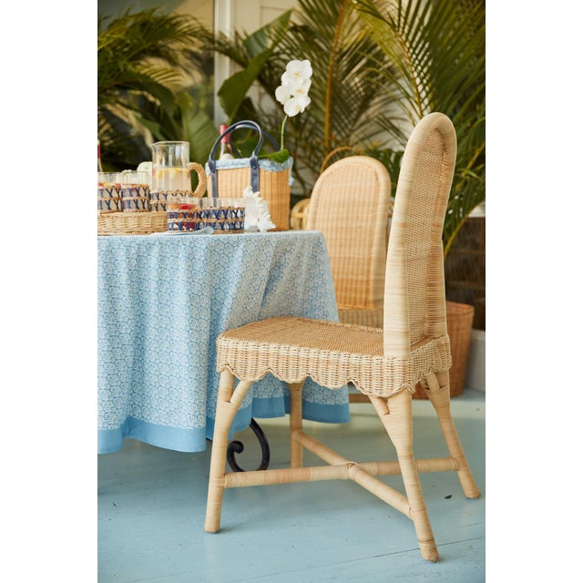 Linton Scalloped Rattan Side Chairs, Set of 2 For Sale - Image 9 of 12