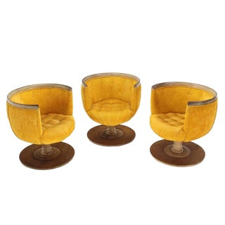 Set of Three Barrel Back Revolving Chairs For Sale