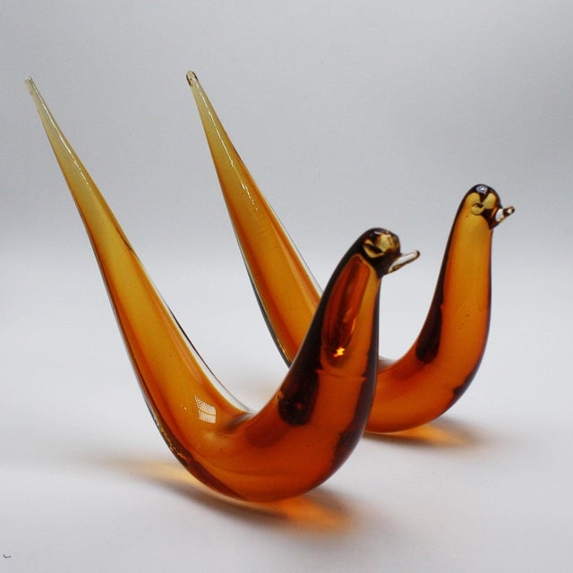 Abstract Pair of Amber Murano Glass Abstract Birds, C. 1960 For Sale - Image 3 of 8