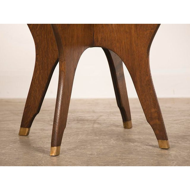 Antique French Octagonal Oak Table with Brass Accents circa 1900 For Sale In Houston - Image 6 of 6