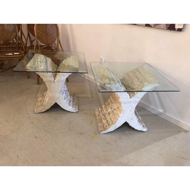 White Coquina & Stone Glass Top Tables For Sale - Image 8 of 9
