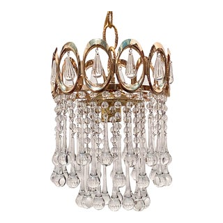 Mid-Century Gold Frame Layered Chandelier For Sale