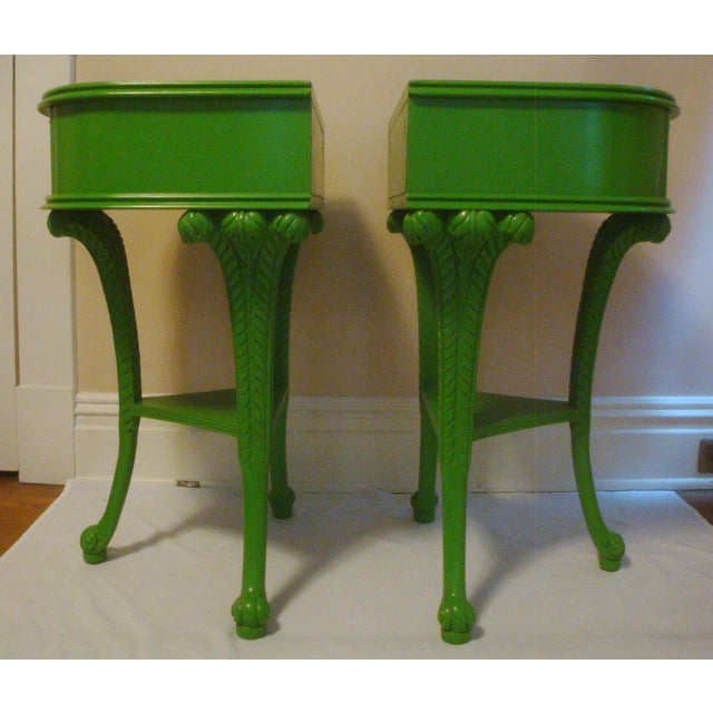 Art Deco Pair Feather Plume Nightstands Side Tables Prince of Wales For Sale - Image 3 of 11