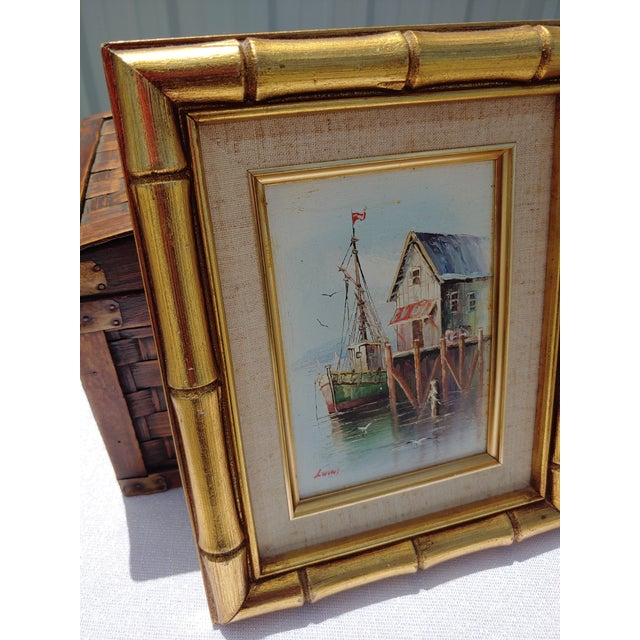 French Framed Oil Painting on Canvas of a Harbor Scene For Sale In Orlando - Image 6 of 9