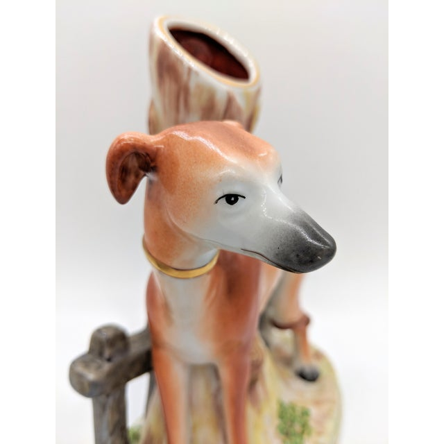 Ceramic 20th Century Staffordshire Greyhound/ Whippet Dog Spill Vases - a Pair For Sale - Image 7 of 9