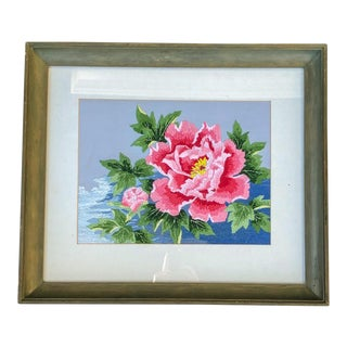 Peony Needlework Wall Art For Sale