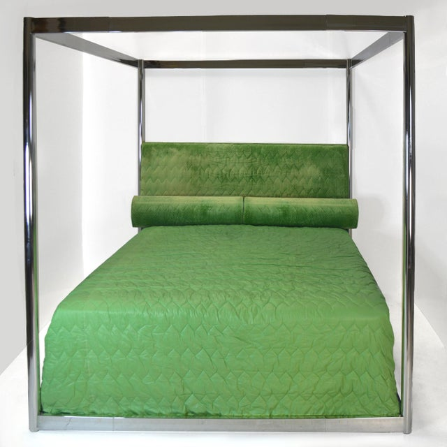 Custom chrome four poster Eastern king canopy bed. Designed for a private residence by Steve Chase in 1976. The bed comes...