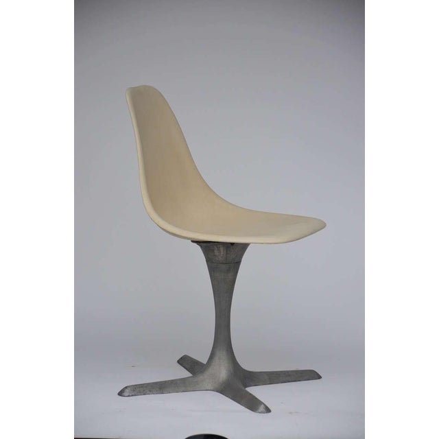 Set of 4 American 70's brushed aluminum and eggshell chairs by Burke, Inc. of Texas. Stamped BURKE, INC. DALLAS, TEXAS....