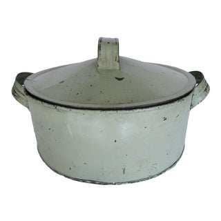 1930s Vintage French Sage Green Round Tin Double Handle Pie Cake Carrier Container With Lid For Sale