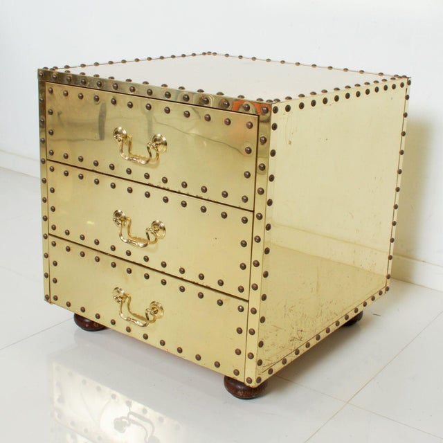 Mid-Century Sarreid Spain Studded Brass Chest Three Drawer Nightstand For Sale In San Diego - Image 6 of 8