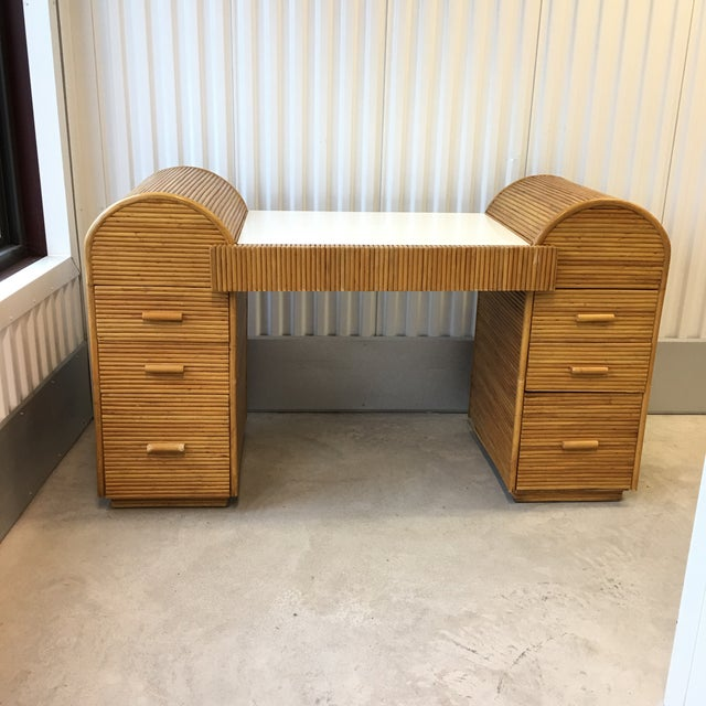 1980s Monumental Split Reed/Bamboo Writing Table or Desk For Sale - Image 12 of 13