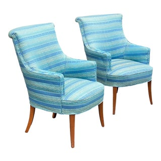 Hollywood Regency Saber Leg Fireside Chairs - a Pair For Sale