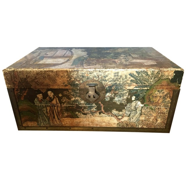 19th-C. Chinese Pigskin Travel Trunk - Image 1 of 11