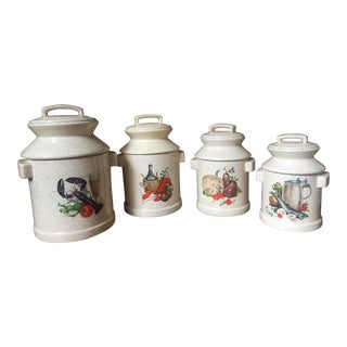 'Fruits of the Sea' Large Ivory & Brown Speckled Canisters - Set of 4 For Sale