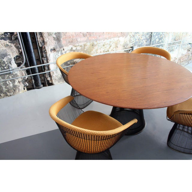 Original Walnut and Bronze Dining Set With 4 Chairs by Warren Platner for Knoll For Sale In Chicago - Image 6 of 13