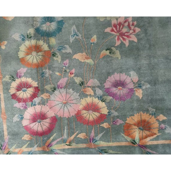"Antique Chinese Art Deco Rug 8'10"" X 11'8"" For Sale In New York - Image 6 of 12"