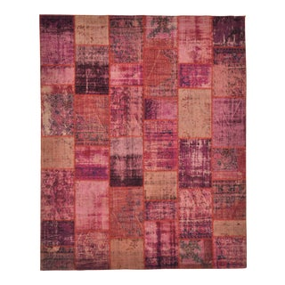Purple Pink Over-Dyed Turkish Distressed Patchwork Area Rug - 8' X 10' For Sale