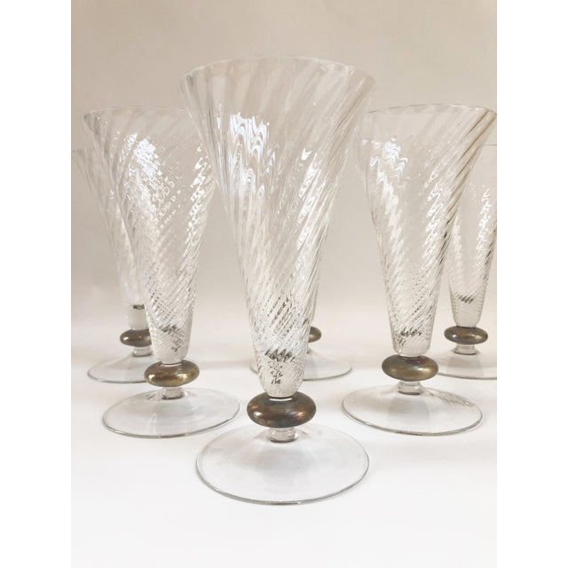 1930s Art Deco Crystal Trumpet Shaped Glassware - Set of 6 For Sale - Image 4 of 5