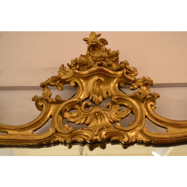 Rococo Antique French 19th Century Rococo Gold Leaf Mirror For Sale - Image 3 of 5
