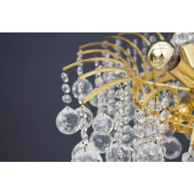 1970s Christoph Palme Chandelier Gilded Brass and Crystal Glass For Sale - Image 5 of 13
