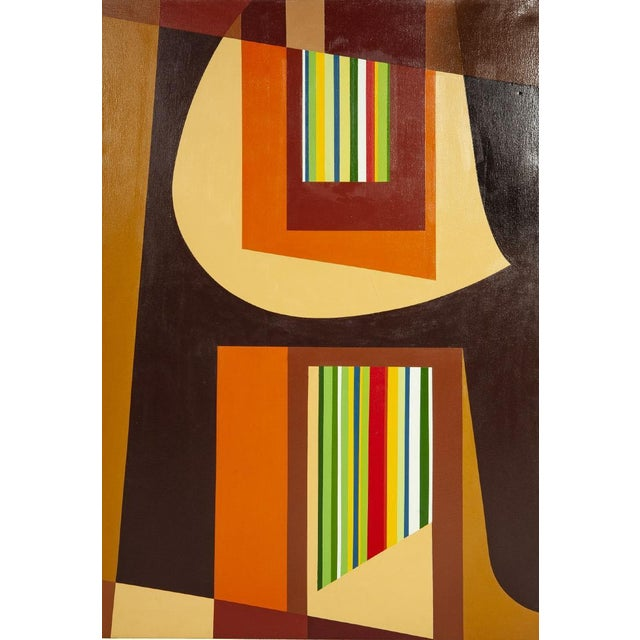 1972 Original Vintage Jervis Abstract Mid-Century Modern Hard Edge Oil on Canvas Painting For Sale