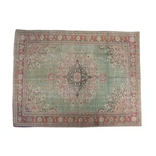 "Vintage Distressed Oushak Carpet - 7'4"" X 9'9"""