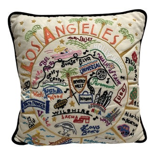 Vintage Los Angeles Embroidered Accent Pillow For Sale