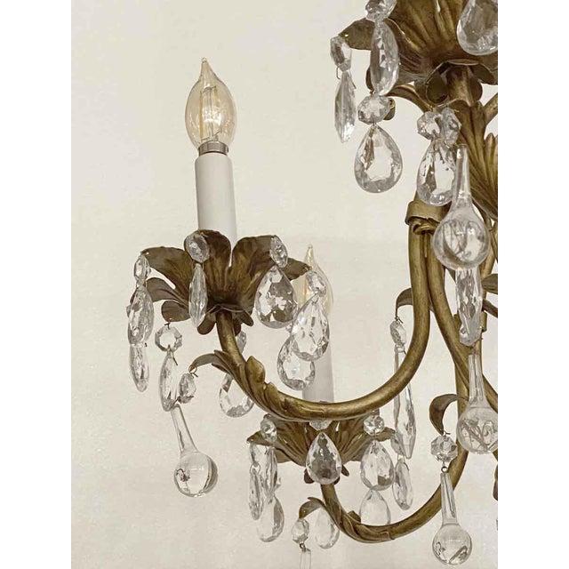 Florentine Style Crystal & Gilt Metal Chandelier For Sale - Image 4 of 10