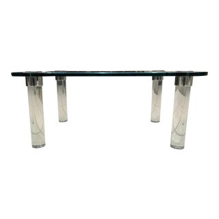 Mid-Century Modern Rectangular Glass Top Lucite Cylinder Leg Coffee Table For Sale