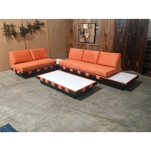 Orange 20th Century Adrian Persall Style Sofa Sectional and Coffee Table - 3 Pieces For Sale - Image 8 of 13