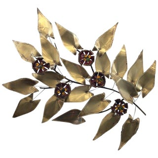 Brass and Enamel Branch Wall Sculpture in the Manner of Curtis Jere For Sale
