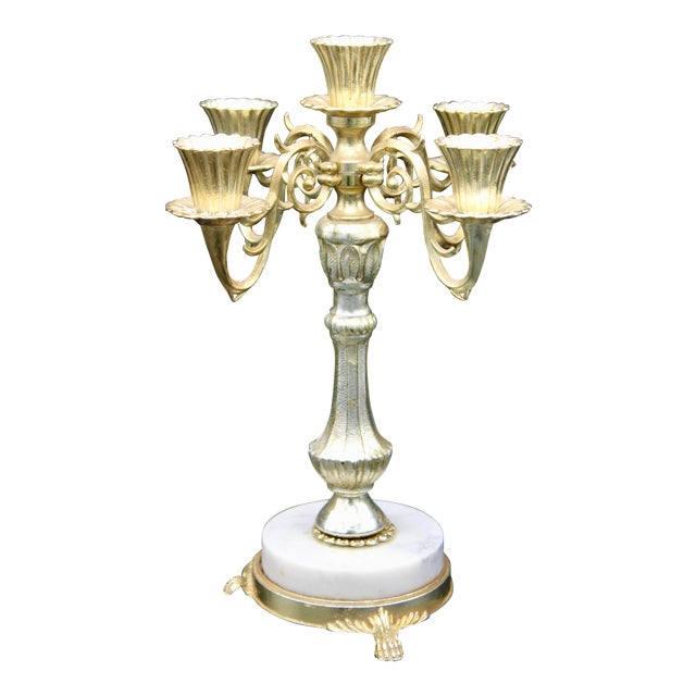 Italian Five Branch Candelabra (Pair Available) For Sale