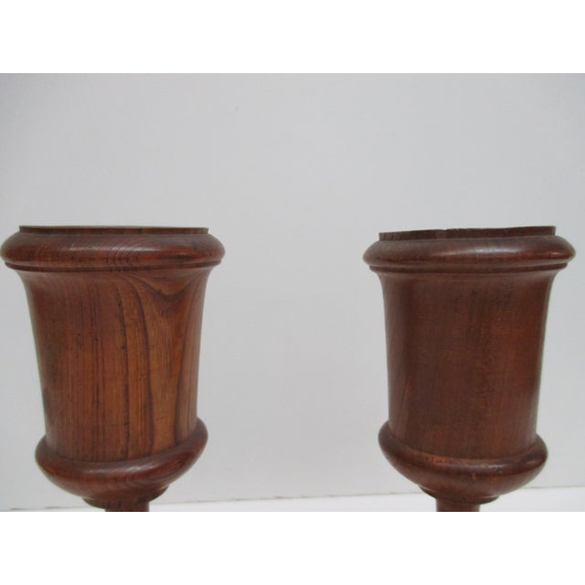 """Pair of English Antique Wooden Cups Size: 3 x 2.5 x 8"""" H"""