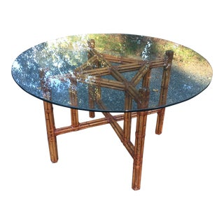 Bamboo Tortoise Reeded Rattan Glass Dining Table