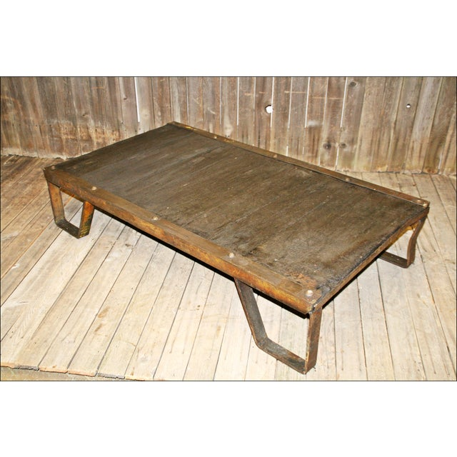 Vintage Industrial Iron & Wood Pallet Table Base - Image 10 of 11