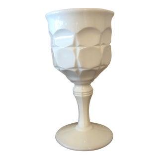 Final Price! Vintage Mid-Century Art Deco Style Milk Glass Goblet For Sale
