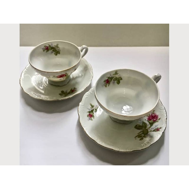 Footed Moss Rose Bone China Tea Cups - Service for 2 For Sale In New York - Image 6 of 12