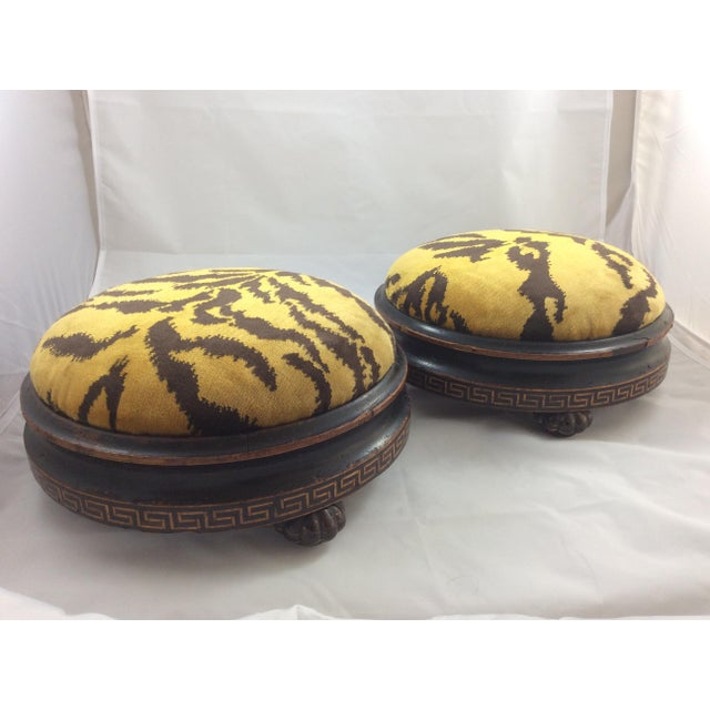 Scalamandre Le Tigre Covered Victorian Footstools - A Pair - Image 5 of 6