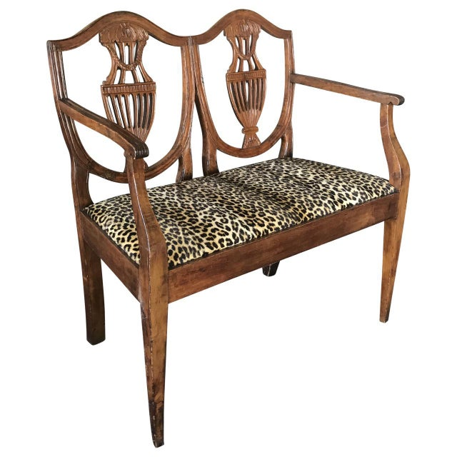 Late 19th Century Antique Italian Walnut Settee For Sale - Image 4 of 5