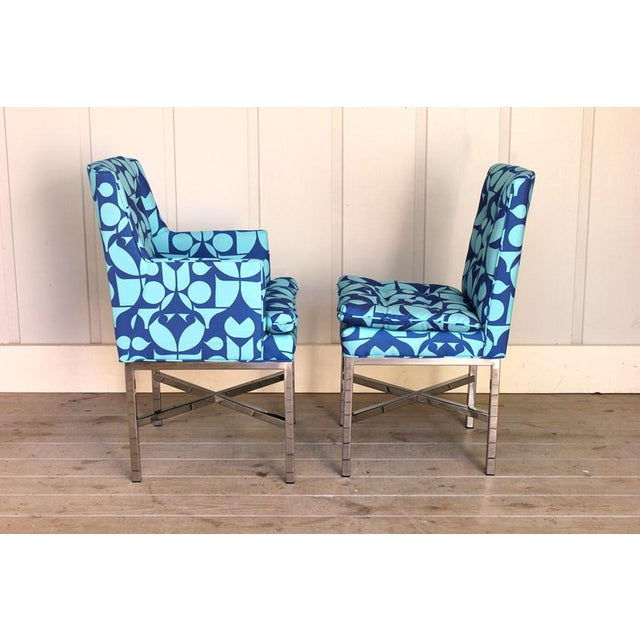 Mid-Century Modern Vintage Blue Upholstered Bernhardt Flair Division Chairs - Set of 6 For Sale - Image 3 of 7
