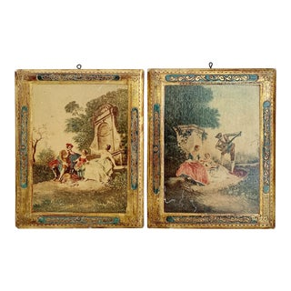 Pair of Vintage Italian Gold Gilt Print Plaques For Sale
