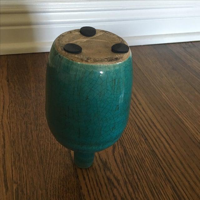 Teal Ceramic Crackle Decorative Vase - Image 5 of 6