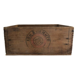 Antique Arm & Hammer Baking Soda Wooden Shipping Crate Box Storage Decor For Sale