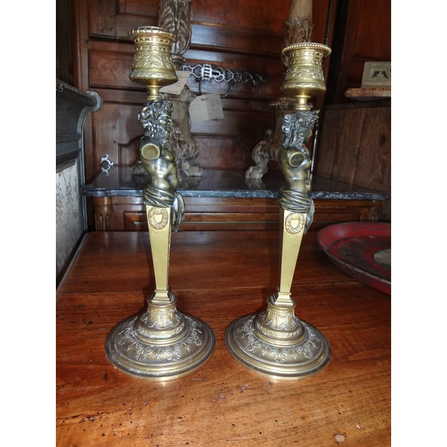Pair of Bronze Louis Kley Candle Holders For Sale - Image 9 of 10