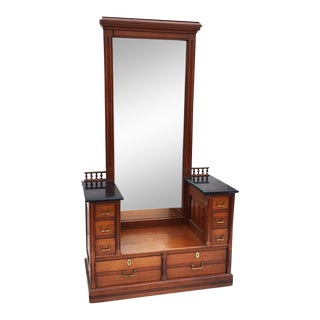 Antique Marble Top East Lake Entry Hutch With Full Size Mirror